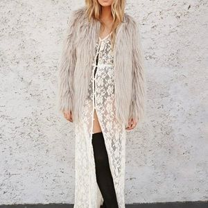 Forever 21 Taupe Faux Fur Coat